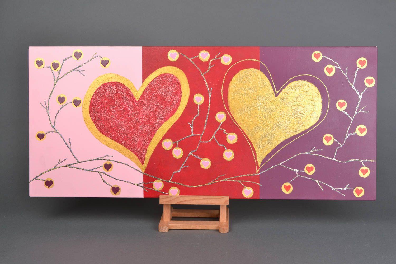 Handmade wall panel Two Hearts photo 1