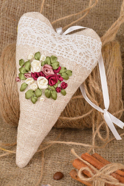Unusual handmade designer linen fabric interior hanging sachet pillow with aroma photo 1
