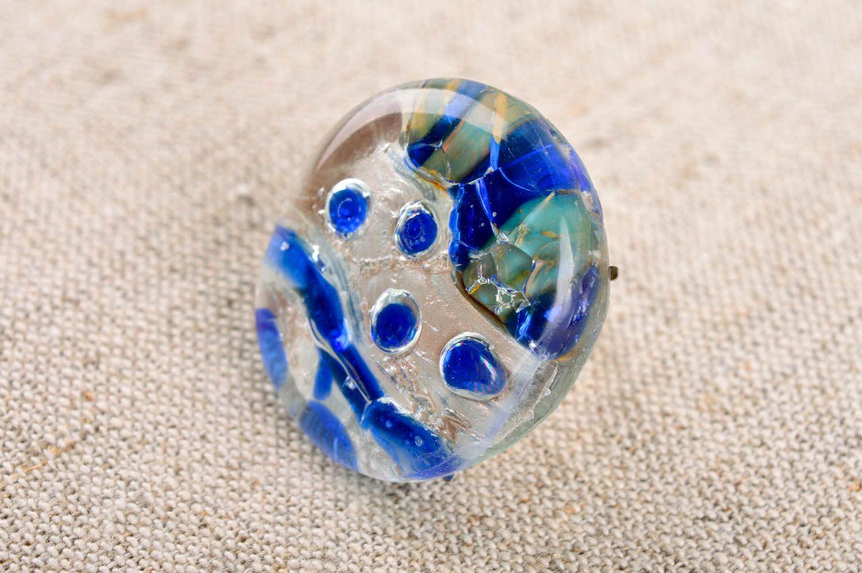 Frauen Ring handmade Damen Modeschmuck Ring aus Glas und Metall originell foto 1