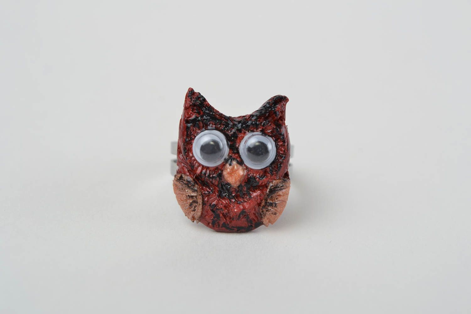 Handmade jewelry ring with metal basis and polymer clay painted owl photo 3