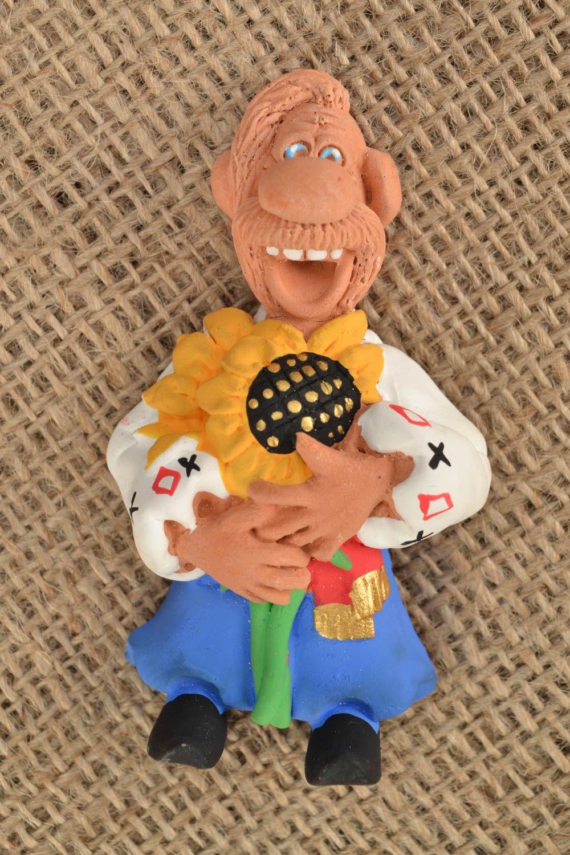 Clay fridge magnet Cossack with Sunflower photo 1