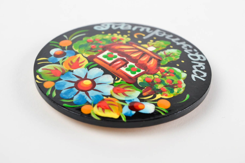 Decorative handmade wooden fridge magnet Petrikov painting decorative use only photo 3