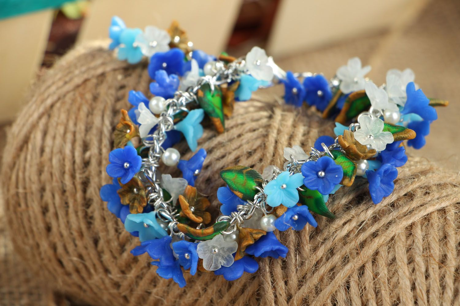 Polymer clay bracelet Forget-me-not photo 4