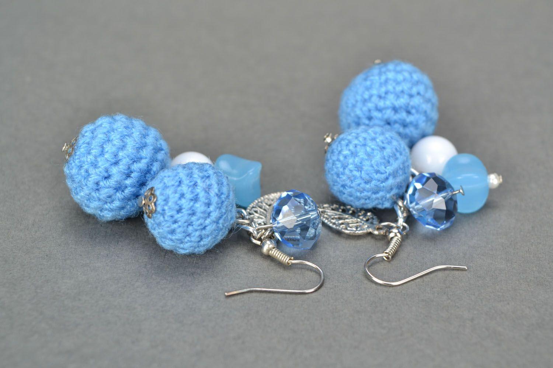 Crochet bead earrings photo 4