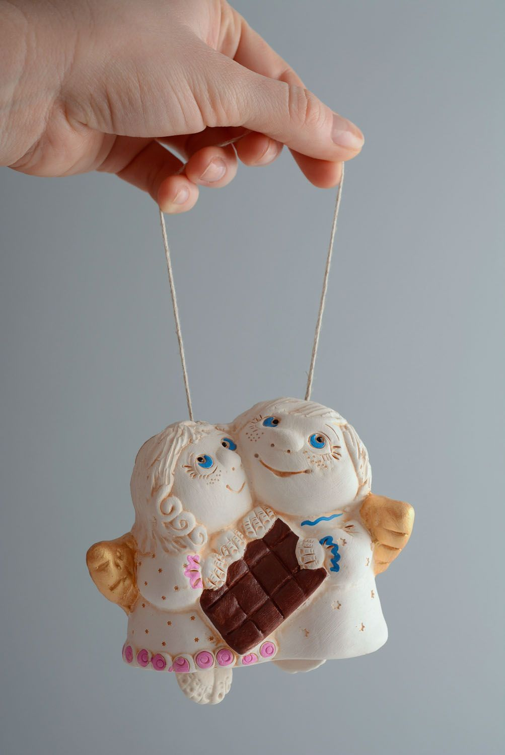 Handmade clay bell Angels photo 5