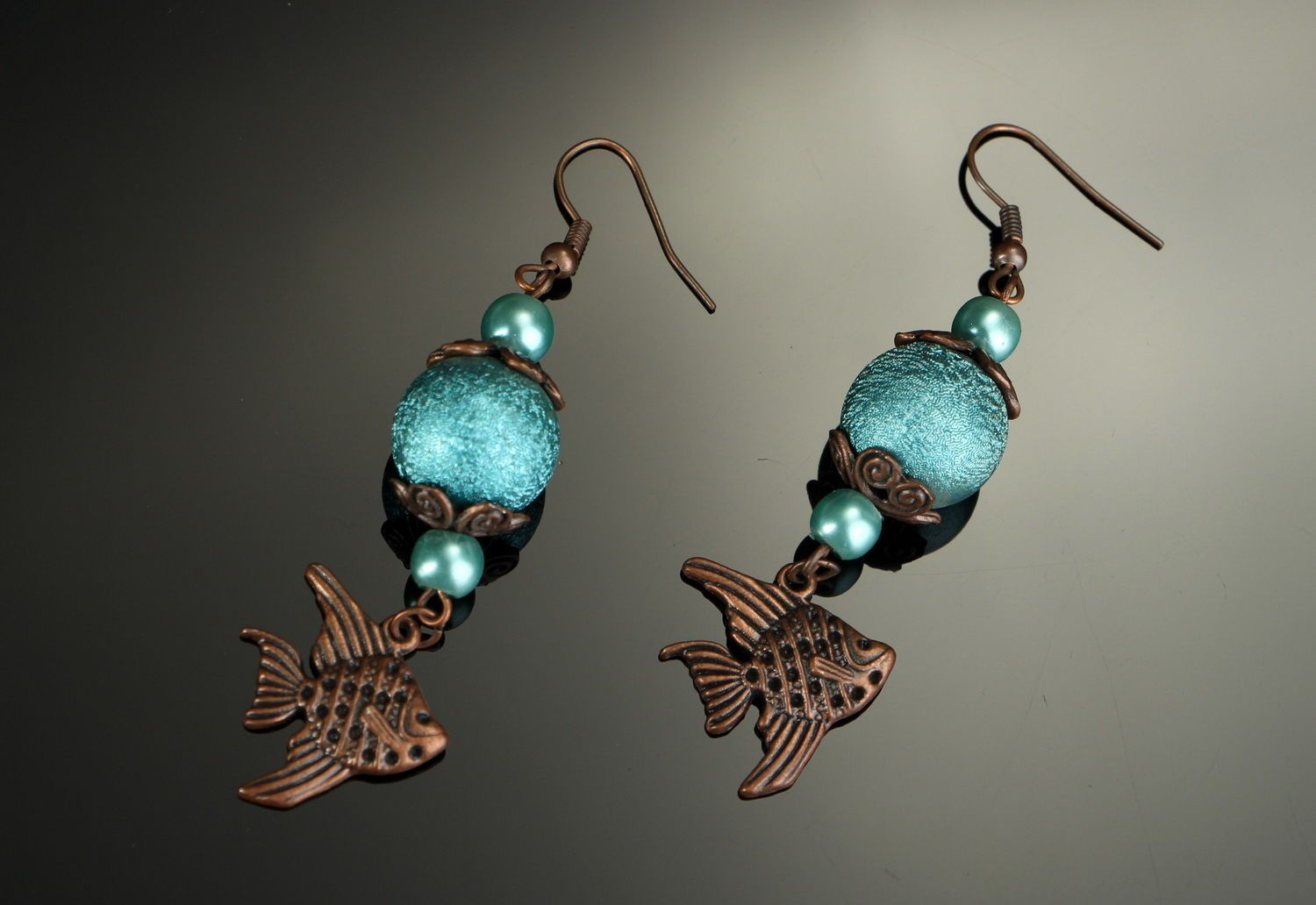 Gray copper earrings with ceramic pearls Sea Princess photo 1