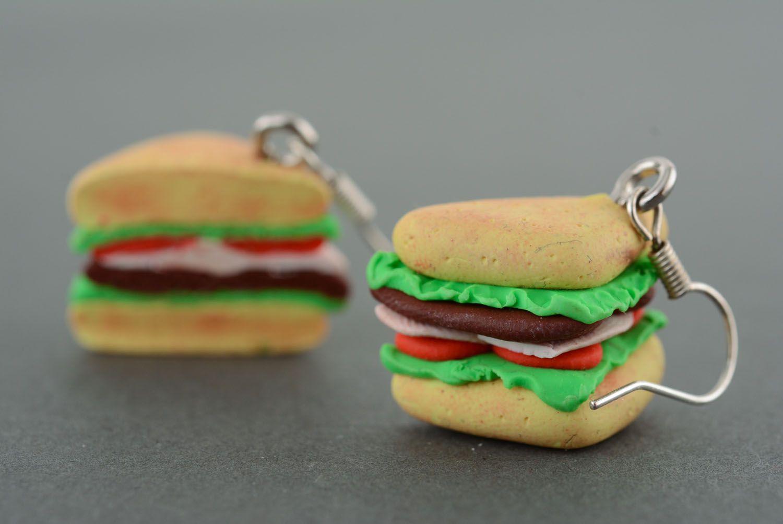 Homemade plastic earrings Sandwiches photo 2