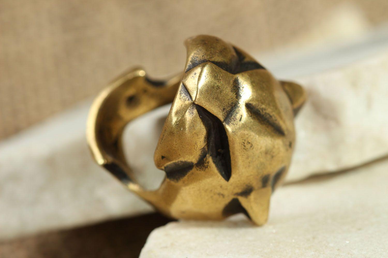 Бронзовое кольцо Пантера фото 1