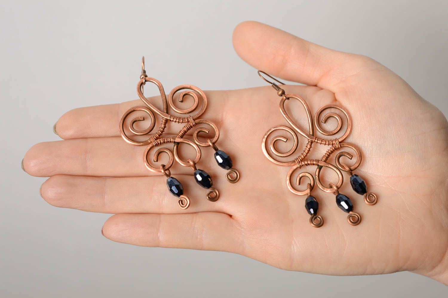 Massive copper earrings made using wire wrap technique photo 4