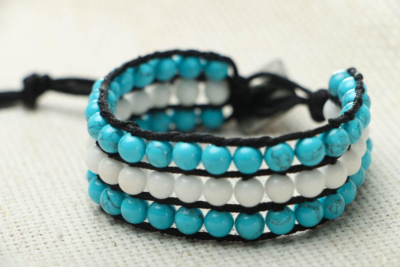 Blau weißes Armband mit Achat und Türkis foto 2