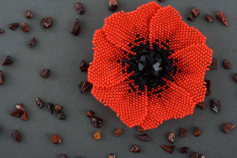 Beaded brooch Poppy photo 2