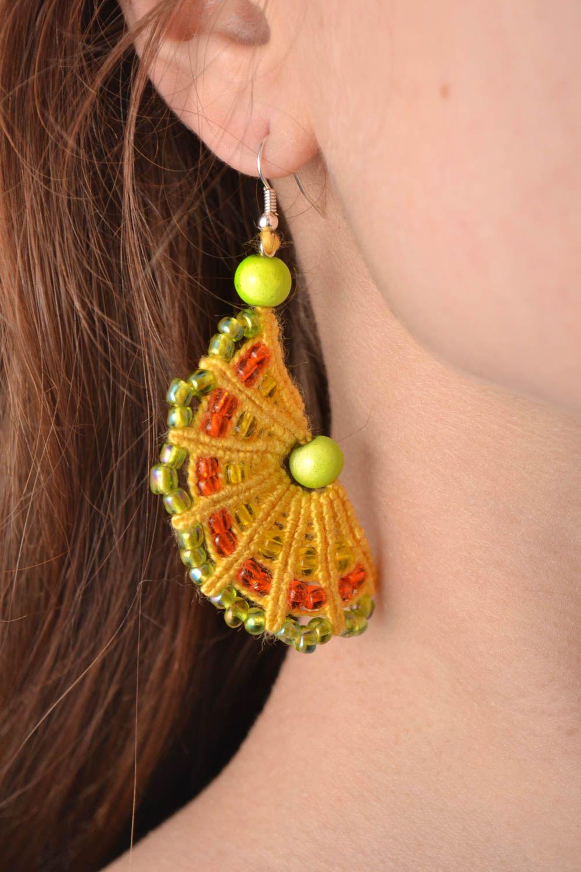 Handmade macrame earrings with beaded charms designer stylish summer accessory  photo 1