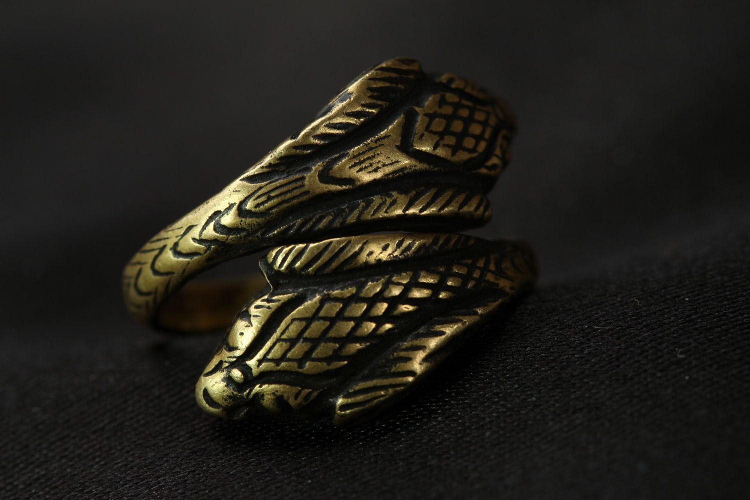 Handmade bronze ring Two Cobras photo 4