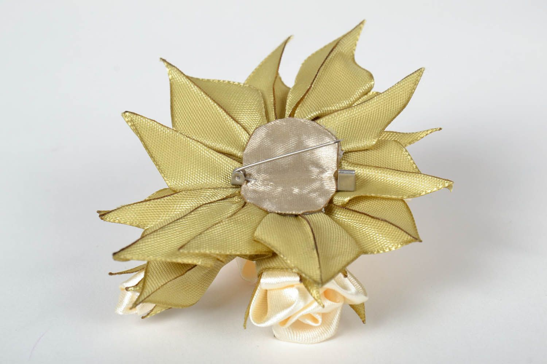 Satin handmade brooch Roses photo 3