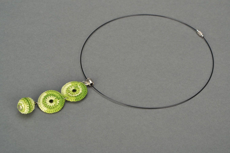 Crochet necklace Green photo 1