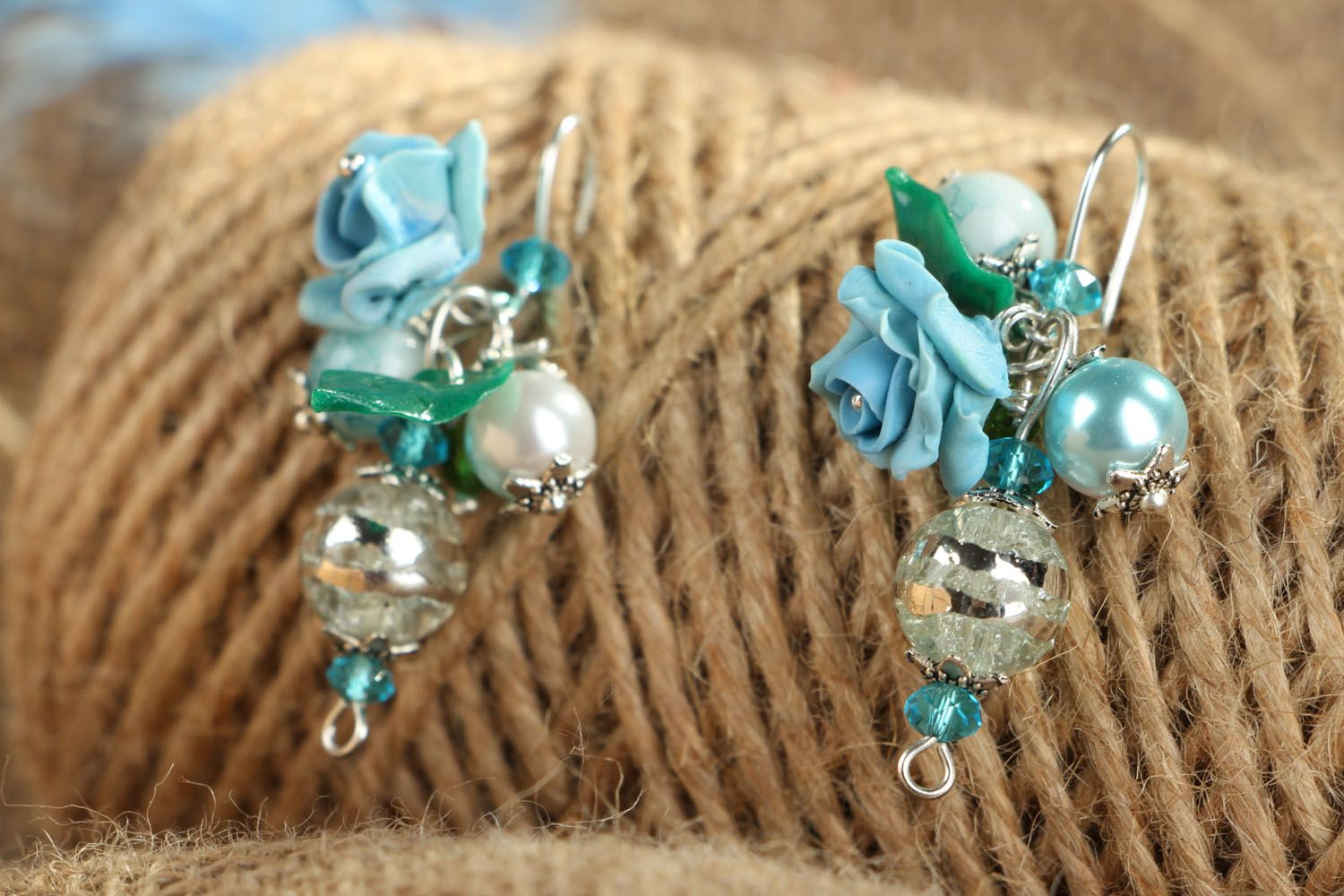 Earrings with charms Blue Roses photo 4