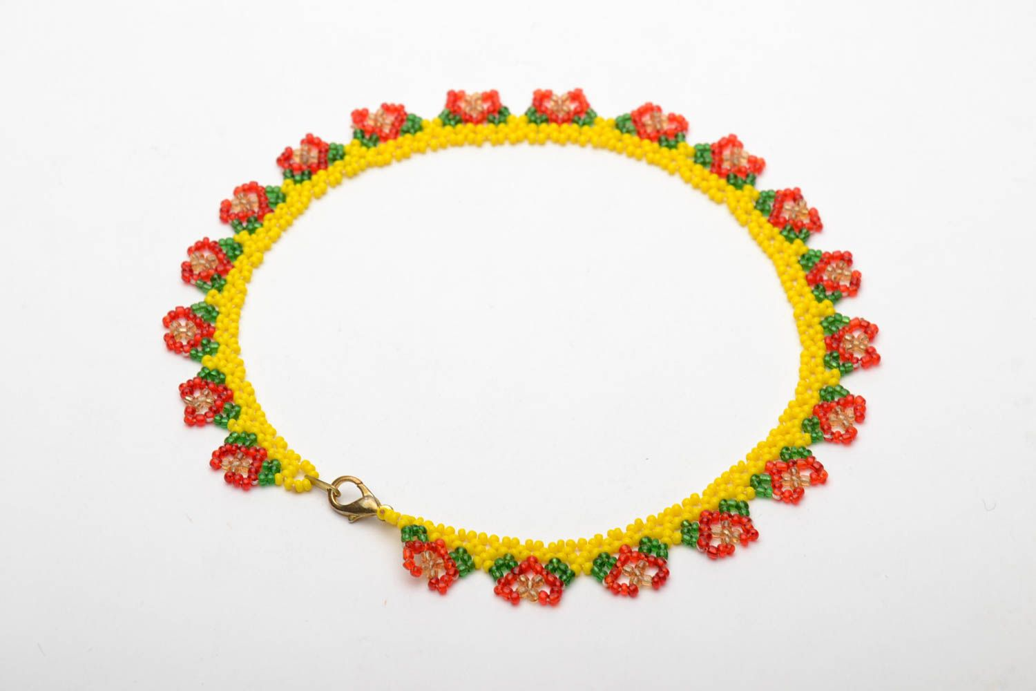 Bright beaded necklace photo 5