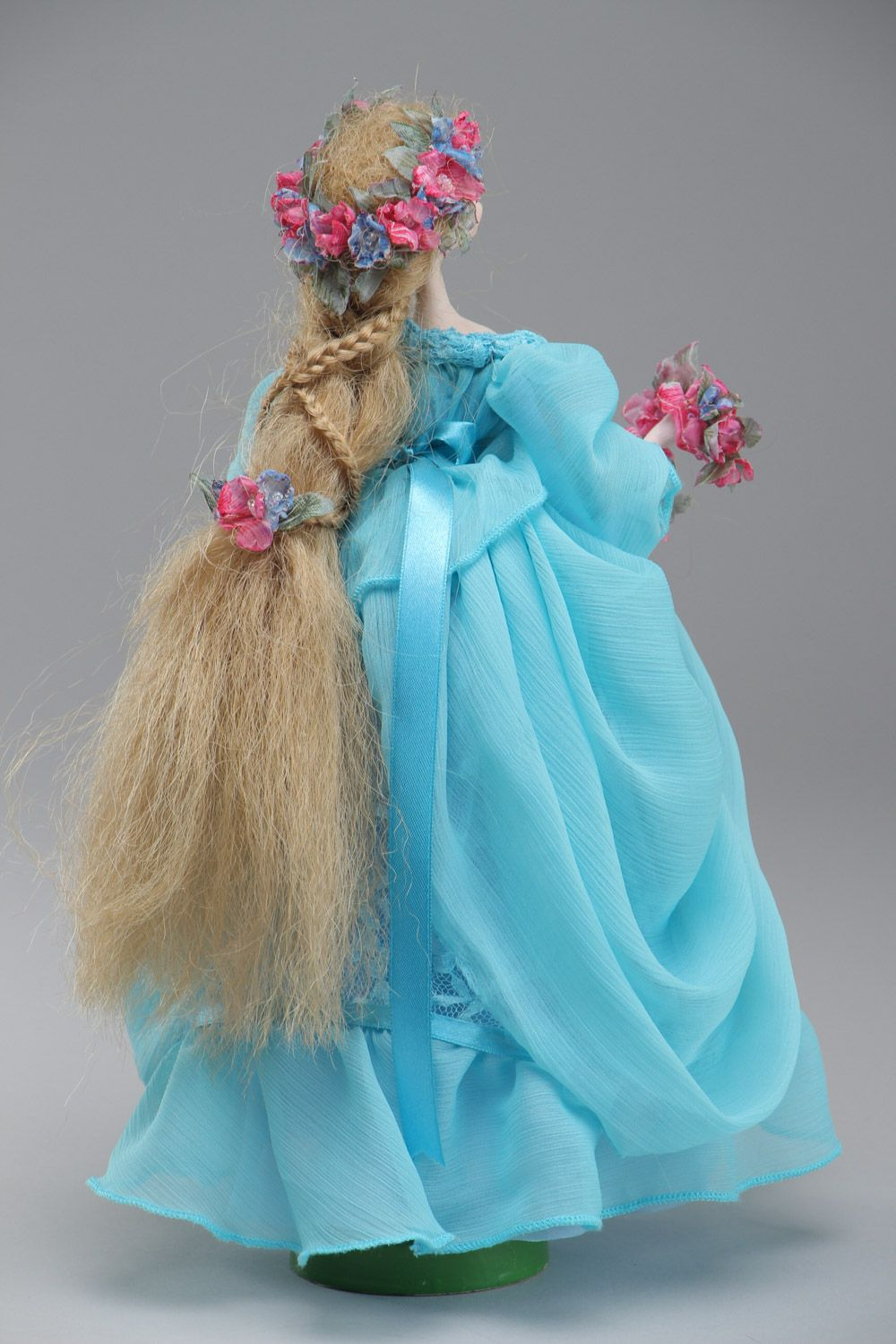 Handmade collectible paperclay interior doll in blue dress photo 4