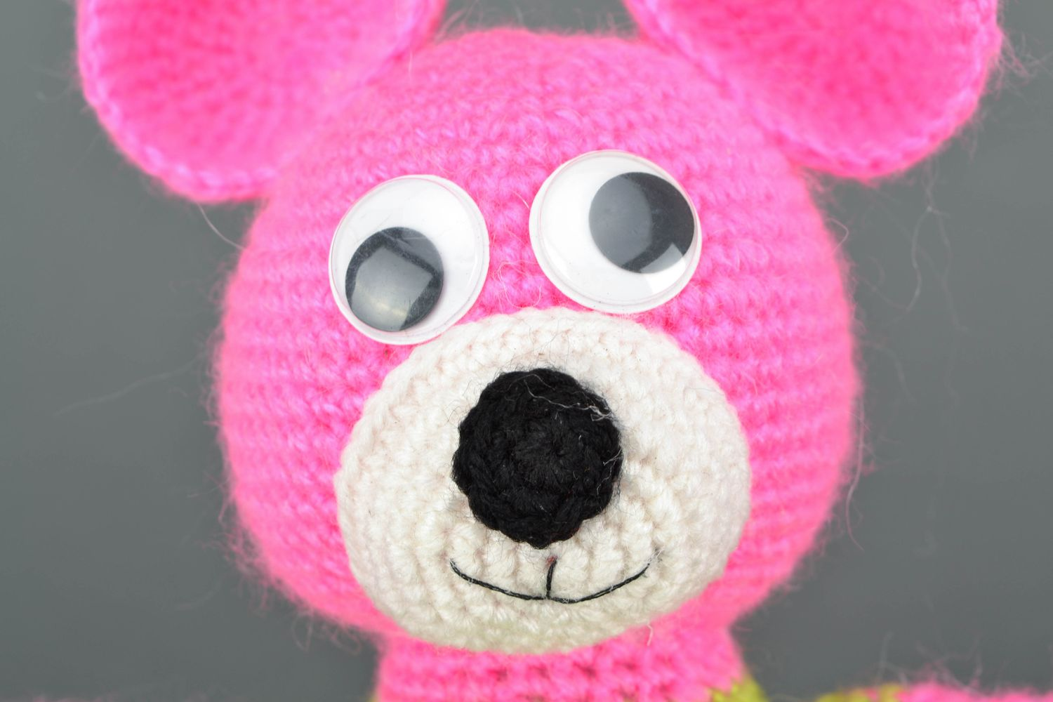 Soft crochet toy Pink Bear in Jacket photo 3