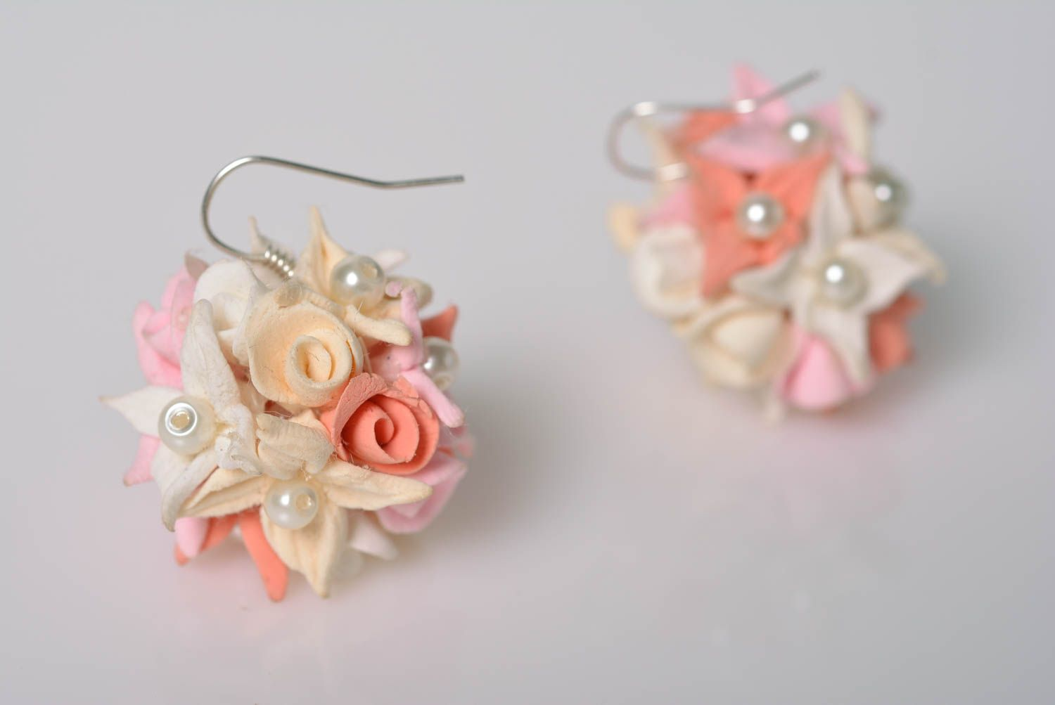 Handmade designer tender floral stud earrings molded of polymer clay photo 4
