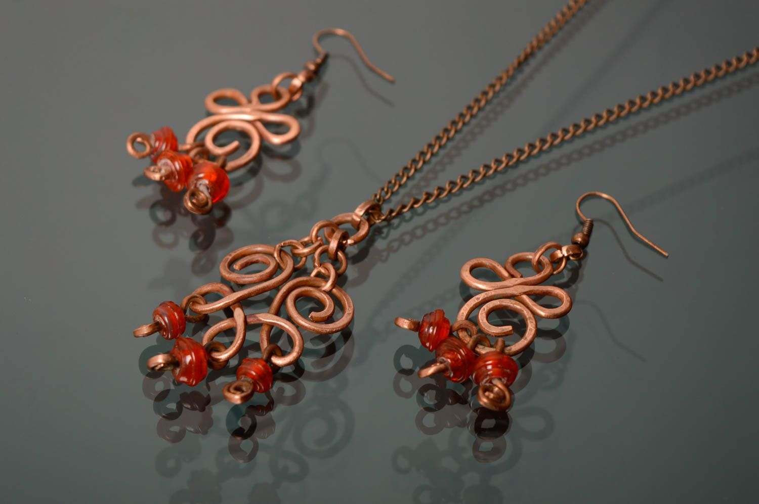 Wire wrap and lampwork jewelry set Autumn Berries photo 1