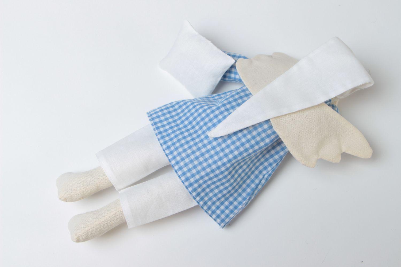 Handmade designer fabric soft doll sleepy angel in blue checkered night shirt photo 4