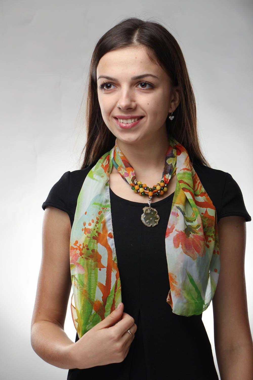 bufandas y palatinas Pañuelo de seda con piedras naturales - MADEheart.com
