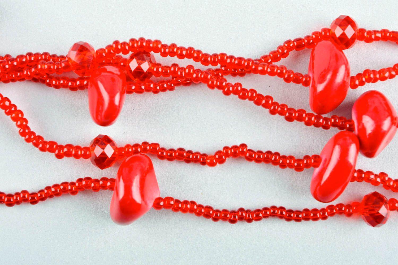 Колье из бисера украшение ручной работы красное многорядное ожерелье из бисера фото 3