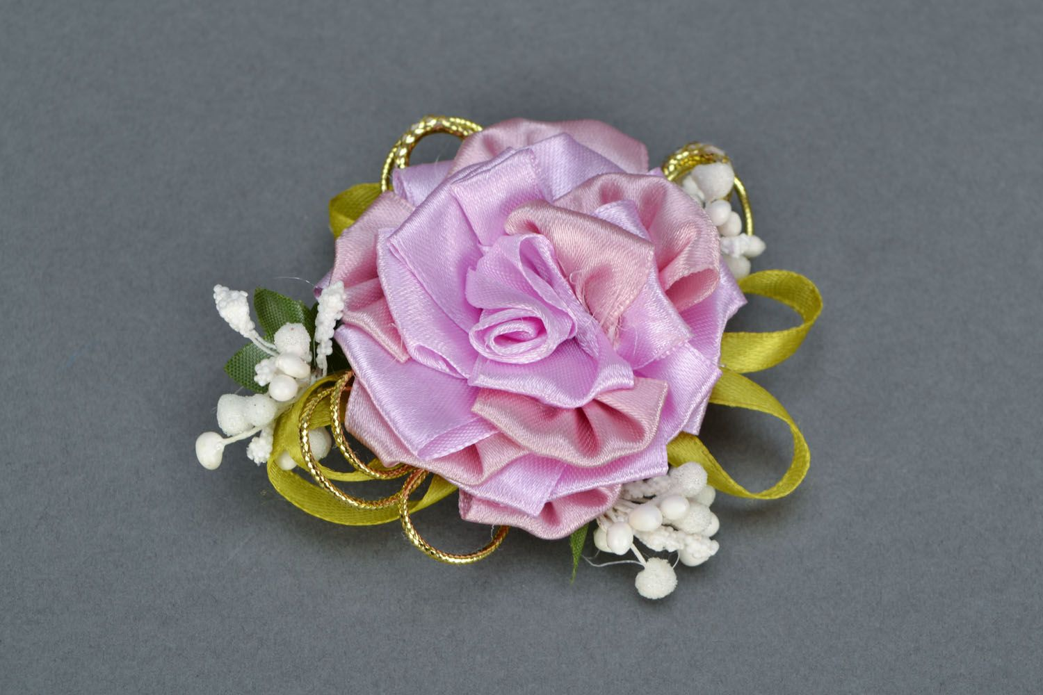 Gentle brooch-hair clip with ribbons Tea Rose photo 3