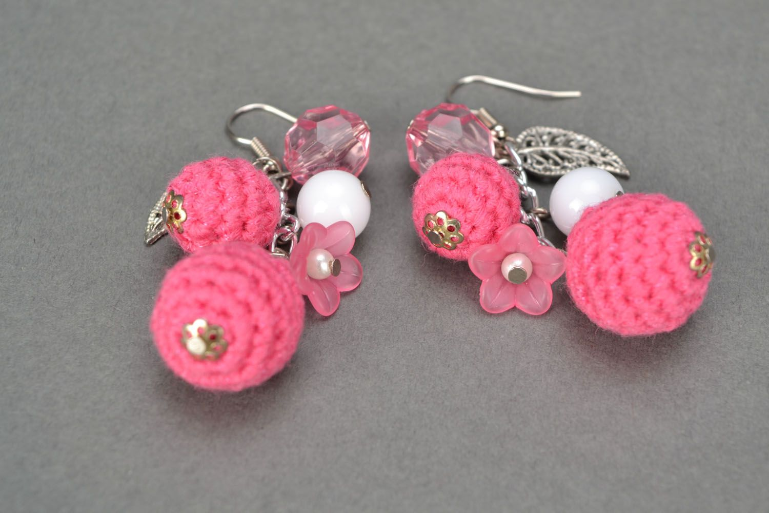 Lace earrings with charms Pink Hope photo 5