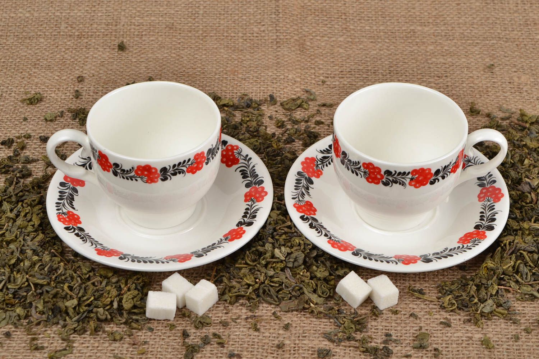 services de vaisselle Tasses et soucoupes fait main Service à thé ensemble original Vaisselle design - MADEheart.com