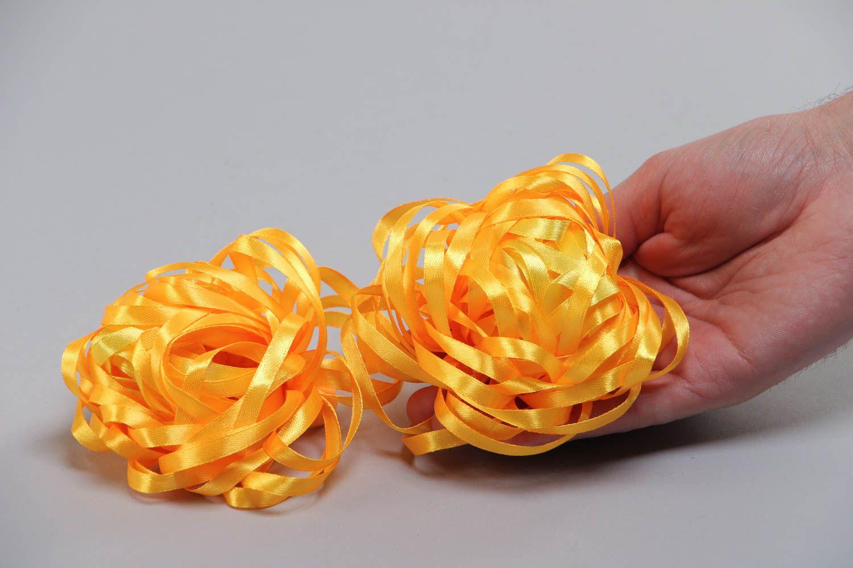 Набор резинок для волос из лент оранжевый ручной работы авторский 2 штуки фото 5