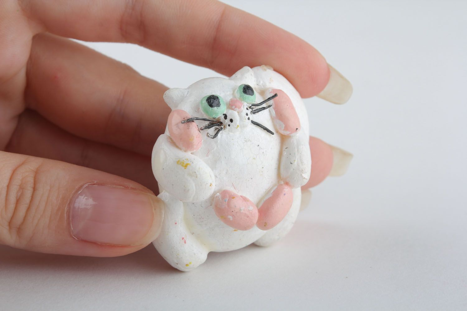 Handmade polymer clay fridge magnet Cat with Sausages photo 5
