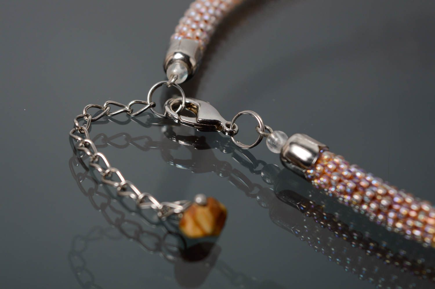 Beaded necklace with natural stones photo 4