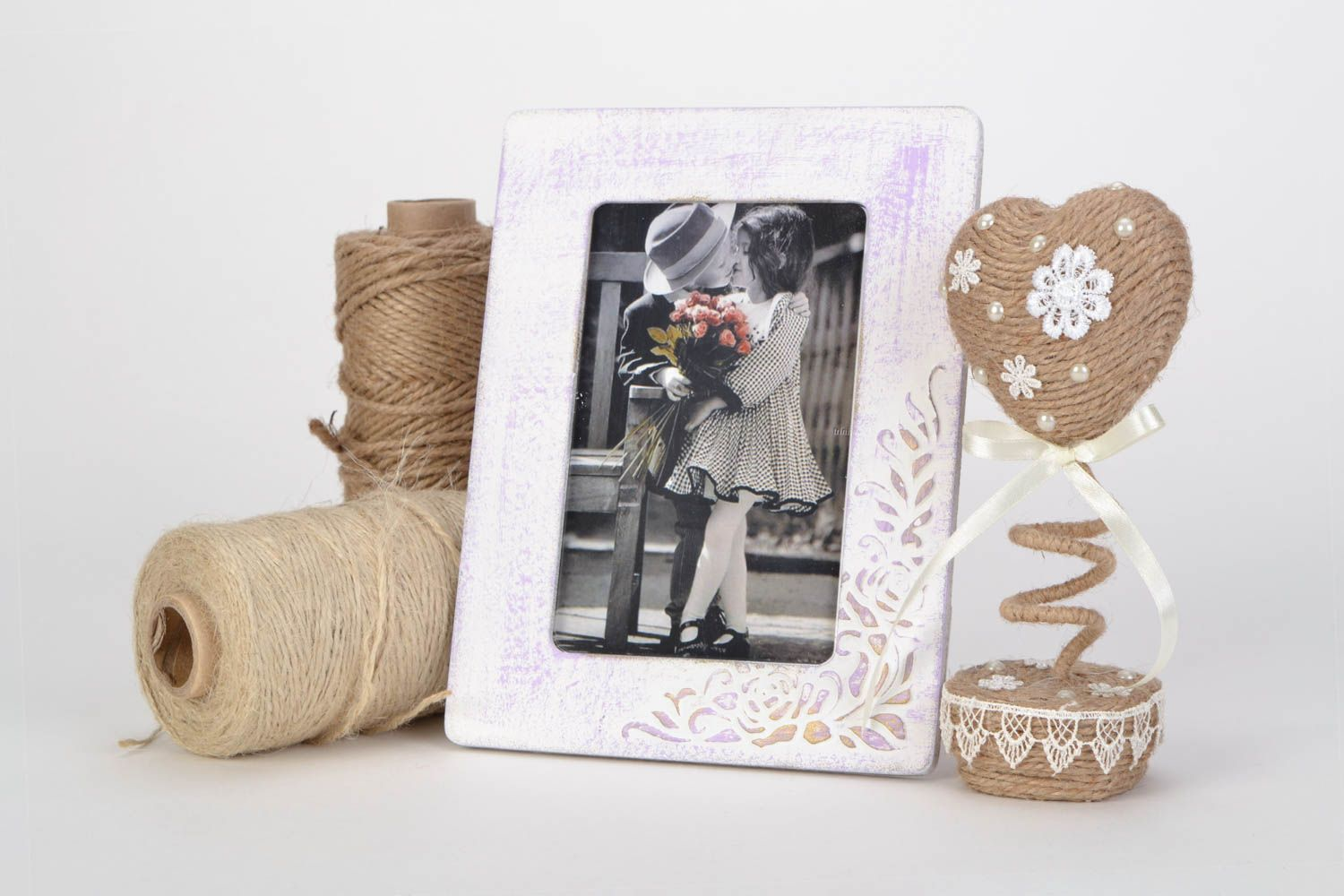 Unusual handmade light plywood photo frame with pattern photo 1