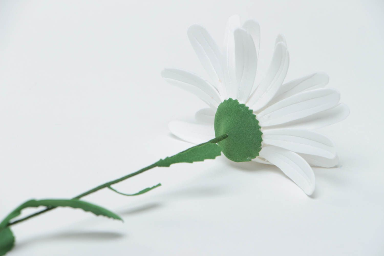 Unusual handmade decorative flower created of plastic suede Camomile photo 4