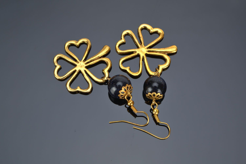Earrings with aventurine Clover photo 1