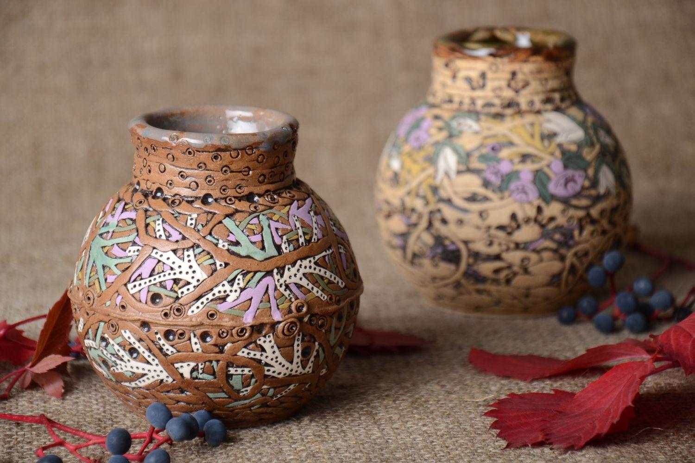 jarrones 2 floreros de cermica jarrones decorativos hechos a mano diseo de interior madeheart - Jarrones Decorativos