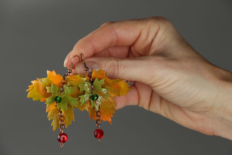 Ohrringe aus Polymerton Herbstblätter foto 4