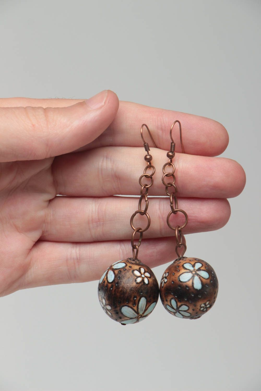 Handmade earrings wooden jewelry designer accessories ball earrings gift for her photo 5