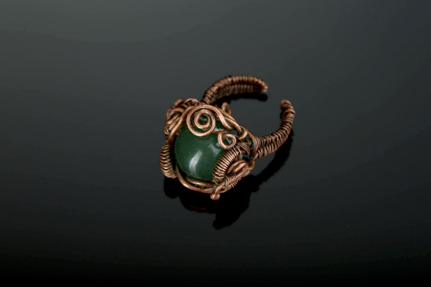 Copper ring with nephrite photo 2
