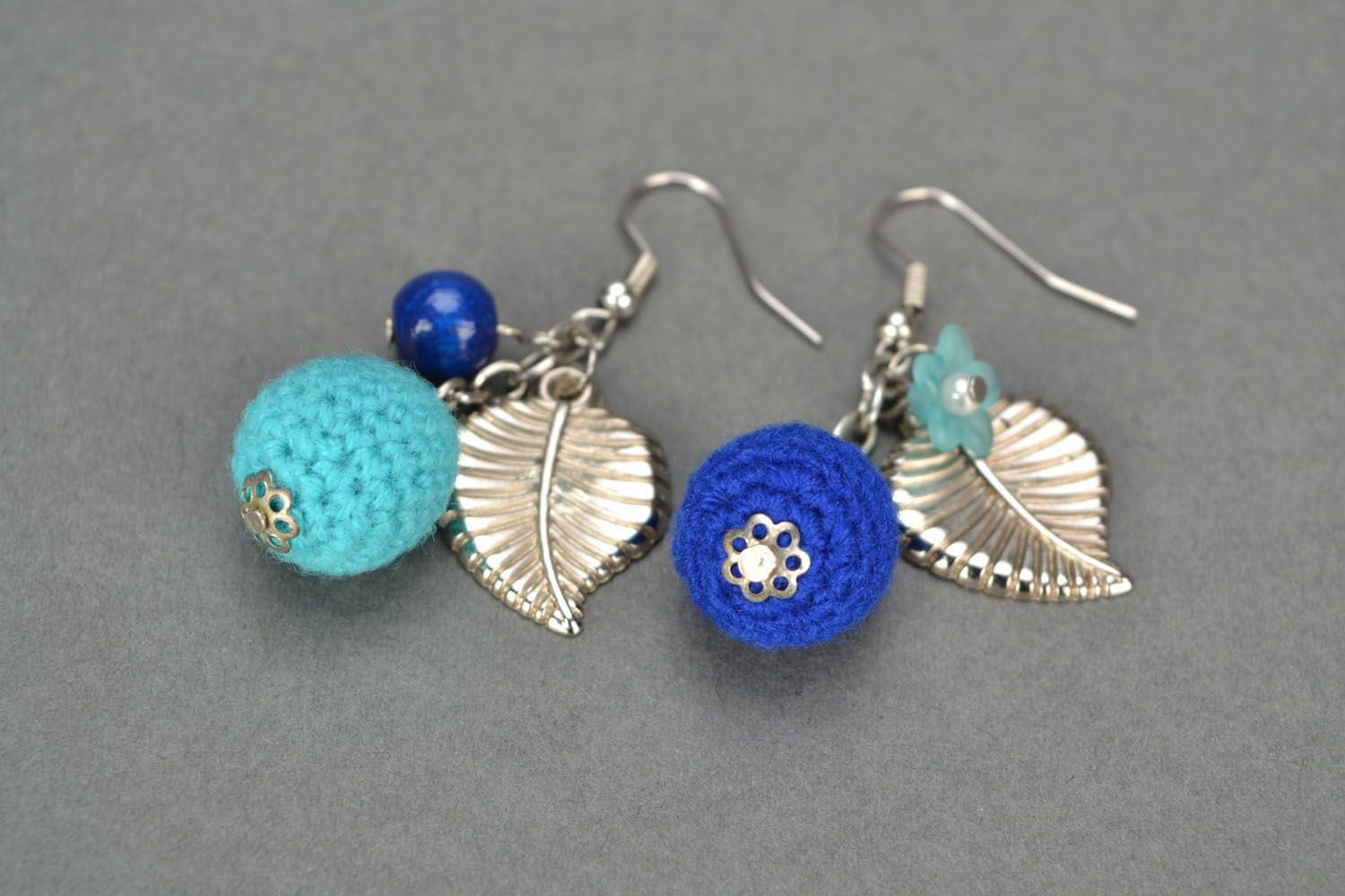Crocheted earrings Blue Wonder photo 5