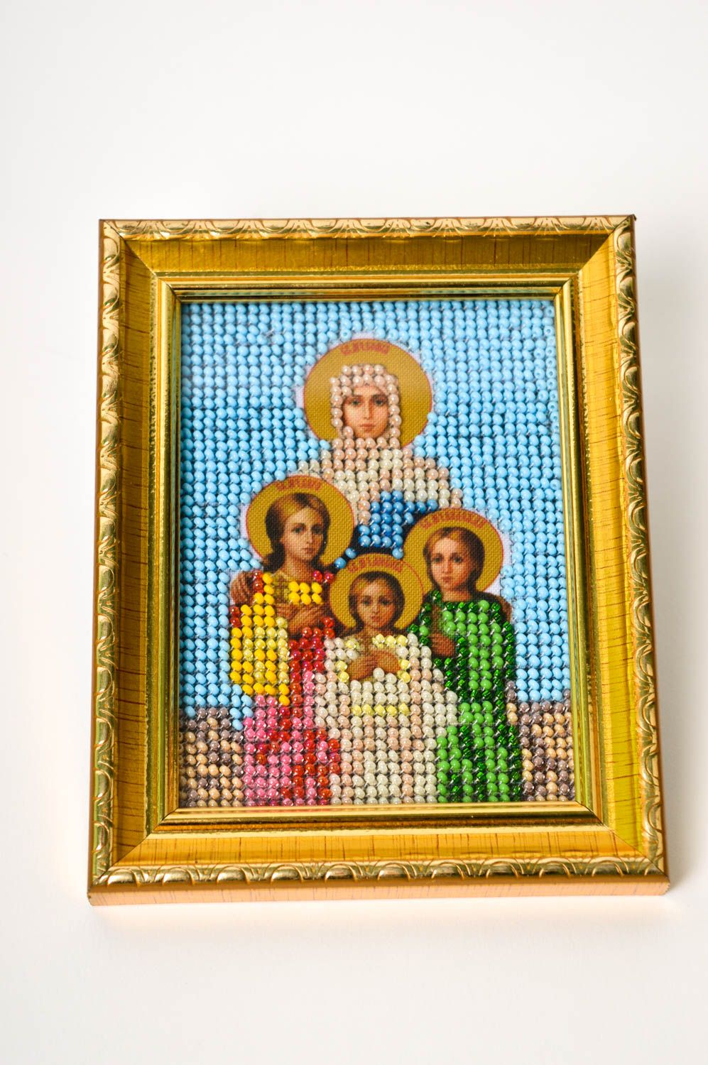 embroidery with beads Handmade orthodox icon embroidered designer icon beautiful home amulet - MADEheart.com