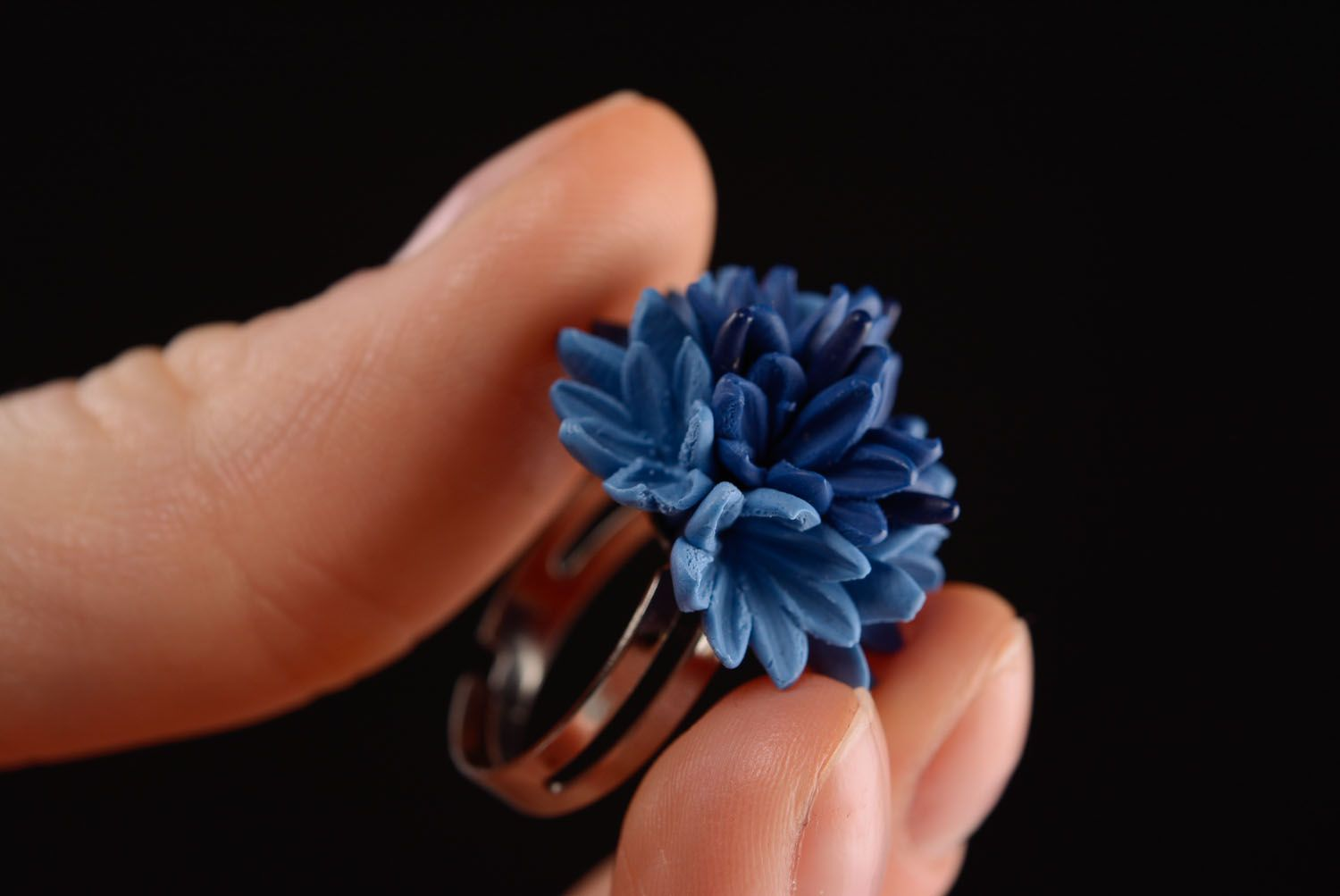 Homemade plastic ring Cornflower photo 2