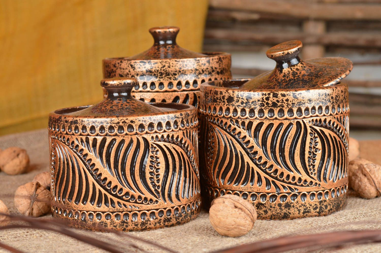 Madeheart conjunto de tarros de barro 3 piezas cer mica for Ceramicas para piezas