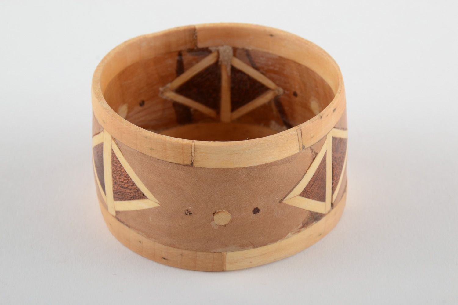 Broad handmade wooden wrist bracelet with geometric ornament with intarsia  photo 1