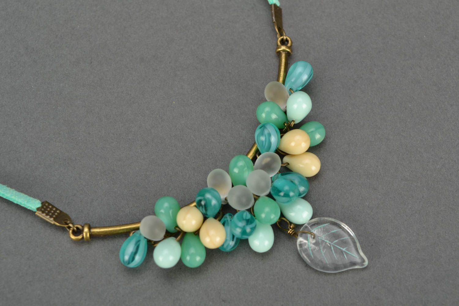 Beautiful homemade suede cord necklace with glass beads unusual design photo 3