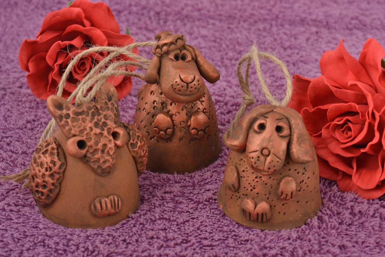 Set of handmade designer painted ceramic bells 3 pieces in the shape of animals photo 1