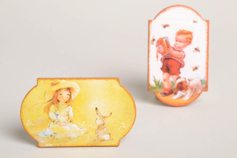 Decoupage fridge magnet stylish handmade kitchen decor decorative use only photo 2