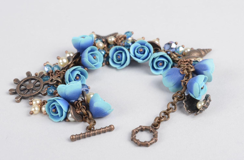 bracelets en pâte polymère Bracelet fantaisie pâte polymère Bijou fait main fleurs bleues Accessoire femme - MADEheart.com